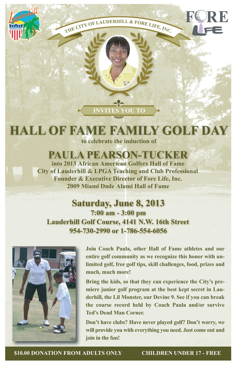 Hall of Fame Family Golf Day To celebrate the induction of Paula Pearson-Tucker